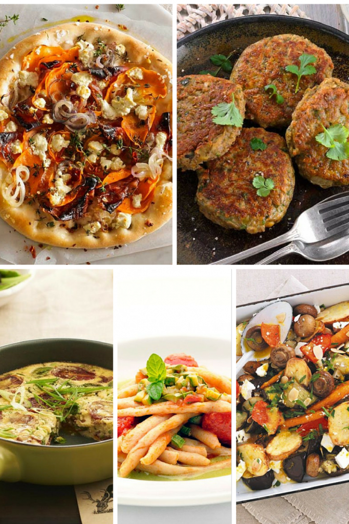 Easy ways to cater for vegetarians at Christmas: Sweet Potato, Spanish Onion & Goats Cheese Pizza. Spiced Lentil & Chickpea Patties. Christmas Frittata. Pasta with Tomato, Zucchini Ragu & Mint. Roasted Mushroom & Vegetable Frittata