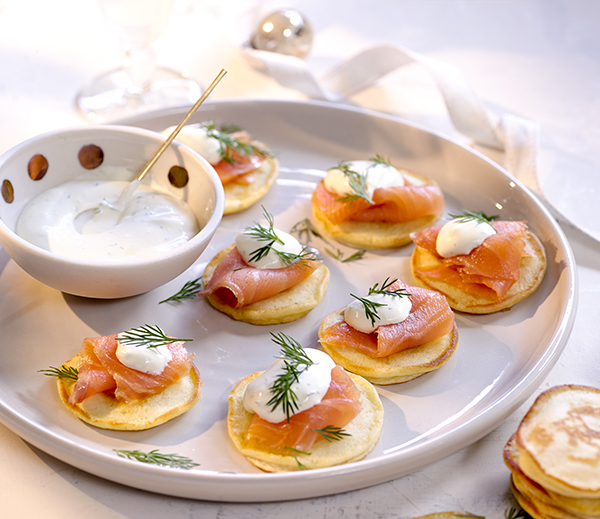 Blinis with Smoked Salmon & Dill Creme Fraiche - Western Star