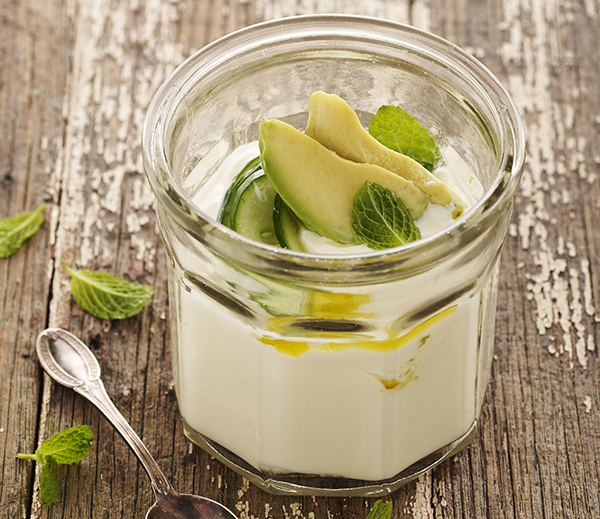 Yoghurt with Pickled Cucumber, Avocado and Mint Topping