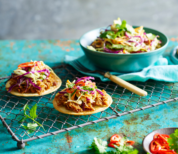 Pulled Chicken Tostada with Slaw